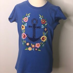 Hanna Andersson girls blue floral anchor shirt